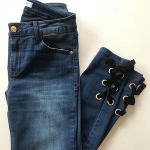 Kensie Lace Up Ankle Jeans